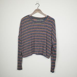 Wild Fable Striped Slouchy Cropped Sweater